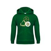 Youth Dark Green Fleece Hoodie-Peace, Love, Volleyball Design