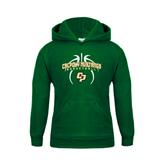 Youth Dark Green Fleece Hoodie-Basketball In Ball Design