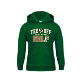 Youth Dark Green Fleece Hoodie-Tee Off Golf Design