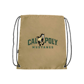 Nylon Vegas Gold Drawstring Backpack-Calpoly Mustangs Primary Mark