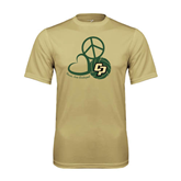 Performance Vegas Gold Tee-Peace, Love, Volleyball Design