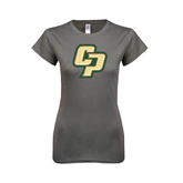 Ladies SoftStyle Junior Fitted Charcoal Tee-Interlocking CP