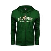 ENZA Ladies Dark Green Fleece Full Zip Hoodie-Calpoly Mustangs Primary Mark