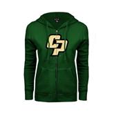 ENZA Ladies Dark Green Fleece Full Zip Hoodie-Interlocking CP