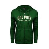 ENZA Ladies Dark Green Fleece Full Zip Hoodie-Calpoly w/ Mustang