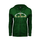 ENZA Ladies Dark Green Fleece Full Zip Hoodie-Arched Football Design