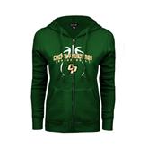 ENZA Ladies Dark Green Fleece Full Zip Hoodie-Basketball In Ball Design