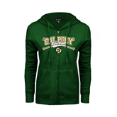 ENZA Ladies Dark Green Fleece Full Zip Hoodie-Baseball Crossed Bats Design