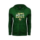 ENZA Ladies Dark Green Fleece Full Zip Hoodie-Game Set Match Tennis Design