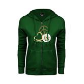 ENZA Ladies Dark Green Fleece Full Zip Hoodie-Peace, Love, Volleyball Design