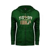 ENZA Ladies Dark Green Fleece Full Zip Hoodie-Tee Off Golf Design