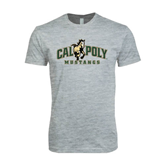 Next Level SoftStyle Heather Grey T Shirt-Calpoly Mustangs Primary Mark