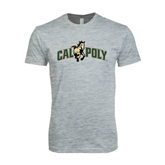 Next Level SoftStyle Heather Grey T Shirt-Calpoly w/ Mustang