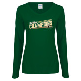 Ladies Dark Green Long Sleeve V Neck Tee-2017 Mens Cross Country Champions