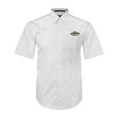 White Twill Button Down Short Sleeve-Calpoly Mustangs Primary Mark