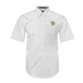 White Twill Button Down Short Sleeve-Interlocking CP