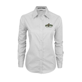 Ladies White Twill Button Down Long Sleeve-Calpoly Mustangs Primary Mark