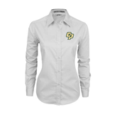 Ladies White Twill Button Down Long Sleeve-Interlocking CP