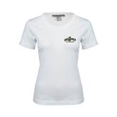 Ladies White Stretch Scoop Neck-Calpoly Mustangs Primary Mark