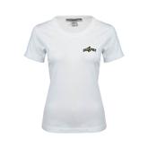 Ladies White Stretch Scoop Neck-Calpoly w/ Mustang