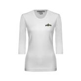 Ladies White 3/4 Sleeve Scoop Neck-Calpoly w/ Mustang