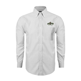 Mens White Oxford Long Sleeve Shirt-Calpoly Mustangs Primary Mark