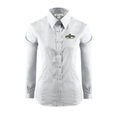Ladies Red House White Long Sleeve Shirt-Calpoly Mustangs Primary Mark