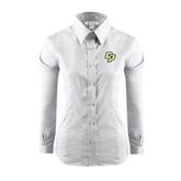 Ladies Red House White Long Sleeve Shirt-Interlocking CP