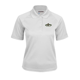 Ladies White Textured Saddle Shoulder Polo-Calpoly Mustangs Primary Mark