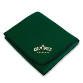 Dark Green Arctic Fleece Blanket-Calpoly Mustangs Primary Mark