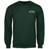 Dark Green Fleece Crew-Calpoly Mustangs Primary Mark