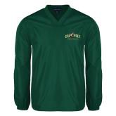 V Neck Dark Green Raglan Windshirt-Calpoly Mustangs Primary Mark