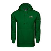 Under Armour Dark Green Performance Sweats Team Hoodie-Calpoly Mustangs Primary Mark