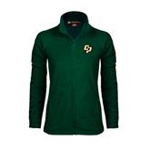 Ladies Fleece Full Zip Dark Green Jacket-Interlocking CP