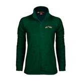 Ladies Fleece Full Zip Dark Green Jacket-Calpoly w/ Mustang