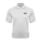 White Textured Saddle Shoulder Polo-Calpoly Mustangs Primary Mark