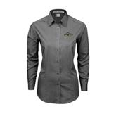 Ladies Grey Tonal Pattern Long Sleeve Shirt-Calpoly Mustangs Primary Mark