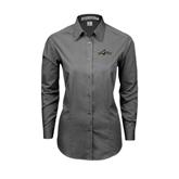 Ladies Grey Tonal Pattern Long Sleeve Shirt-Calpoly w/ Mustang