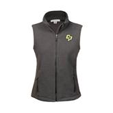 Ladies Fleece Full Zip Charcoal Vest-Interlocking CP