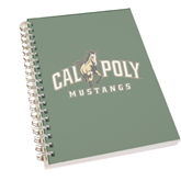 Clear 7 x 10 Spiral Journal Notebook-Calpoly Mustangs Primary Mark