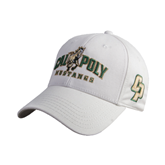 White Heavyweight Twill Pro Style Hat-Calpoly Mustangs Primary Mark