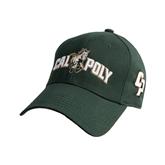 Dark Green Heavyweight Twill Pro Style Hat-Calpoly w/ Mustang