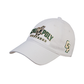 White Twill Unstructured Low Profile Hat-Calpoly Mustangs Primary Mark