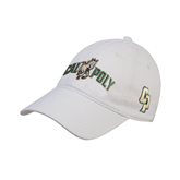 White Twill Unstructured Low Profile Hat-Calpoly w/ Mustang