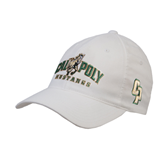 White OttoFlex Unstructured Low Profile Hat-Calpoly Mustangs Primary Mark