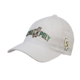 White OttoFlex Unstructured Low Profile Hat-Calpoly w/ Mustang