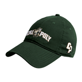 Dark Green Twill Unstructured Low Profile Hat-Calpoly w/ Mustang