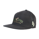 Charcoal Flexfit Flat Bill Pro Style Hat-Calpoly Mustangs Primary Mark