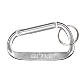 Silver Carabiner with Split Ring-Calpoly Flat Engraved