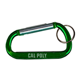 Green Carabiner with Split Ring-Calpoly Flat Engraved